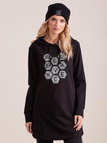 Czarna tunika dresowa z kapturem i aplikacją
