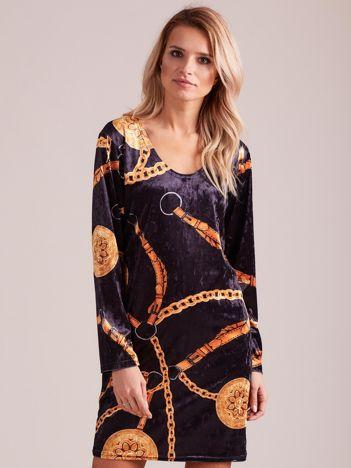 Czarna wzorzysta aksamitna sukienka