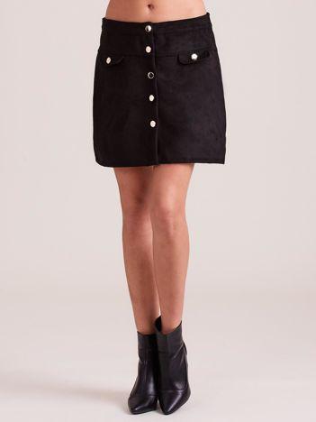 Czarna zamszowa trapezowa spódnica