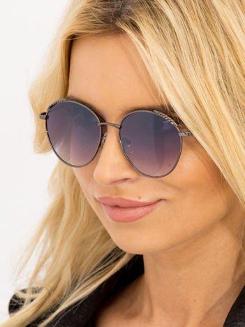 Czarne Damskie Okulary przeciwsłoneczne Z PERŁAMI Na Zausznikach