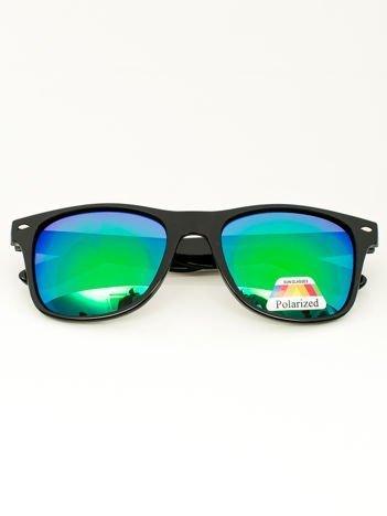 Czarne LUSTRZANE okulary typu WAYFARER POLARYZACYJNE