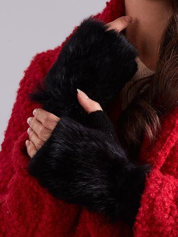 Czarne Wełniane Rękawiczki MITENKI z Futerkiem
