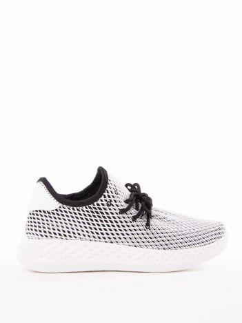 Czarne ażurowe buty sportowe z białą siateczką