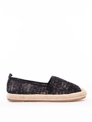 Czarne ażurowe espadryle Sweet Shoes z brokatowe kwiaty