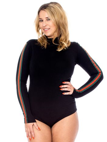Czarne body z lampasami PLUS SIZE