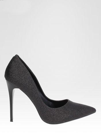 Czarne brokatowe szpilki w szpic Black Glitter