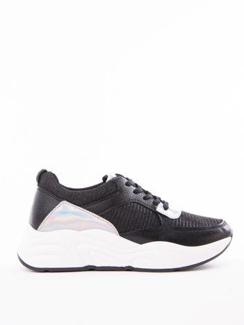 54b37bd3c6dad Czarne buty sportowe IDEAL SHOES z błyszczącą nitką na sprężystej podeszwie
