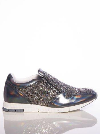 Czarne buty sportowe VESUVIO z holograficzną poświatą i brokatowymi wstawkami