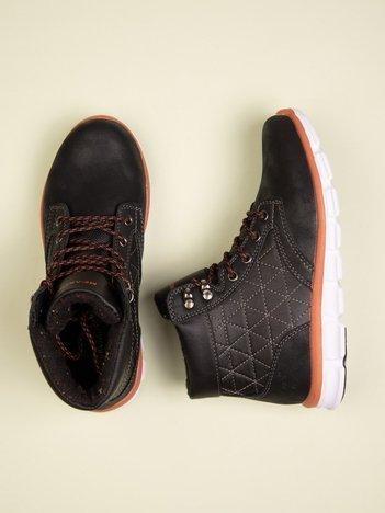 Czarne buty sportowe eco leather Hike z czerwonymi skórzanymi wstawkami