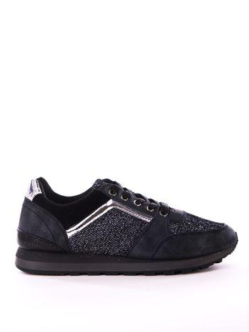 Czarne buty sportowe z brokatowymi wstawkami