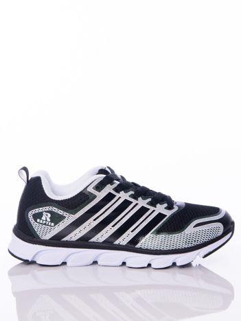 Czarne buty sportowe zdobione białymi wstawkami na sprężystej podeszwie