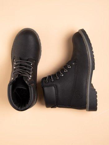 Czarne buty trekkingowe damskie, ocieplane traperki z ciemną podeszwą i czarną cholewką