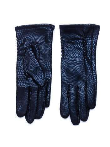 Czarne damskie rękawiczki z efektem połysku skóry węża