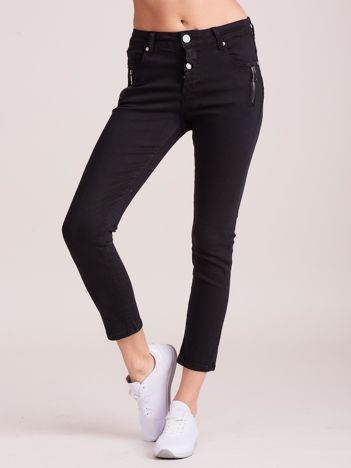 Czarne damskie spodnie jeansowe