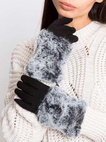 Czarne eleganckie rękawiczki z futerkiem
