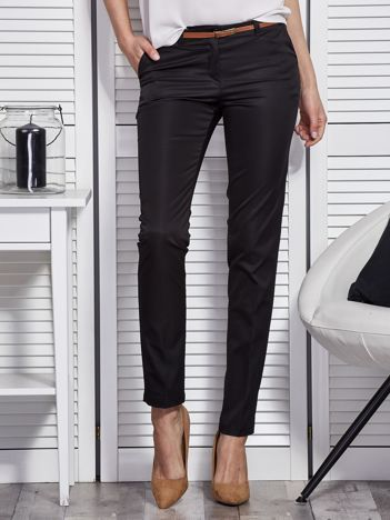 Czarne eleganckie spodnie damskie z paskiem