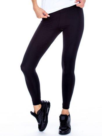 Czarne gładkie legginsy damskie