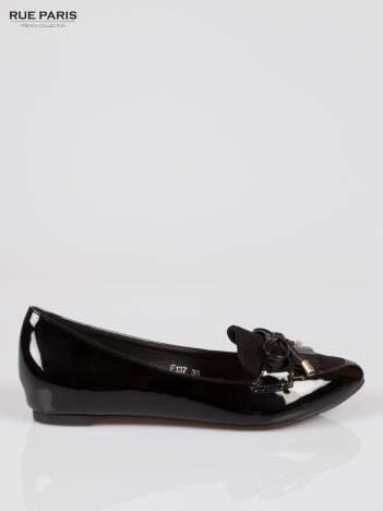 Czarne lakierowane mokasyny faux polish leather z kokardką