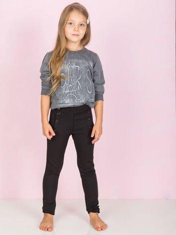 Czarne legginsy dla dziewczynki z guzikami