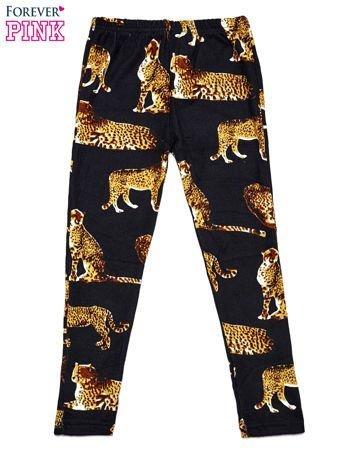 Czarne legginsy dziewczęce z nadrukiem gepardów