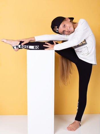 Czarne legginsy dziewczęce z napisami