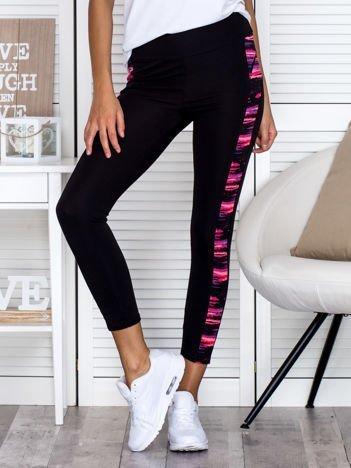 Czarne legginsy z kolorowymi wstawkami