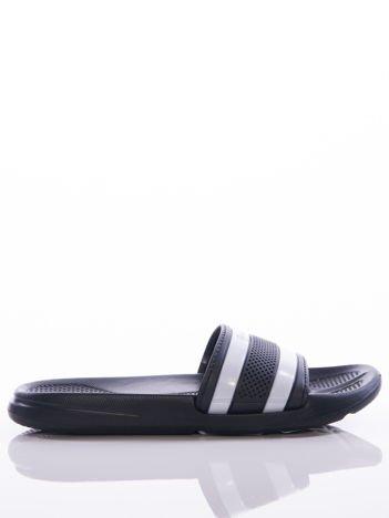 Czarne męskie klapki basenowe Mc Keylor z ażurową cholewką i białymi paskami