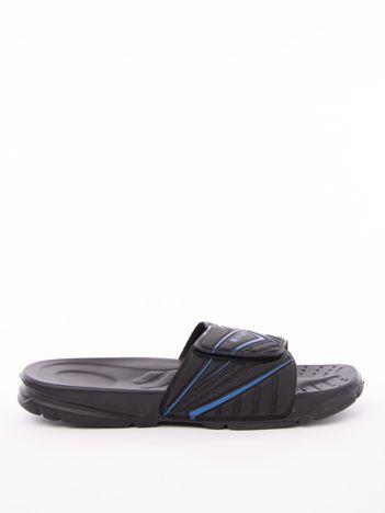 Czarne męskie klapki basenowe w niebieskie wzory
