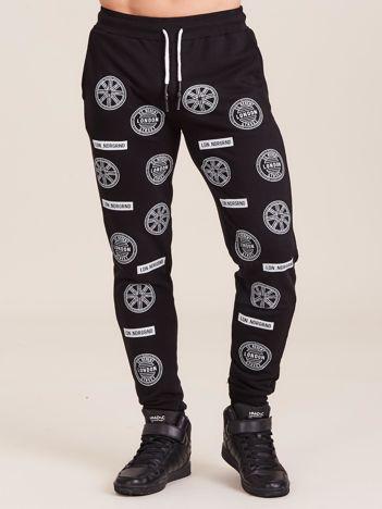 Czarne męskie spodnie dresowe z nadrukiem