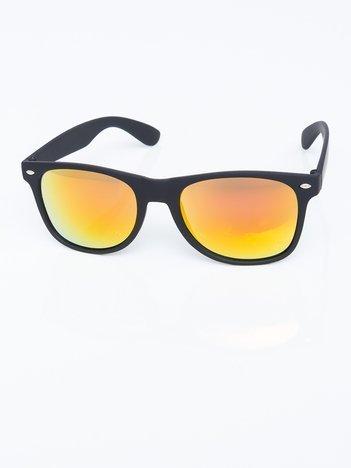Czarne okulary przeciwsłoneczne złote lustrzanki  wayfarery