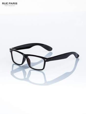 Czarne okulary zerówki kujonki typu WAYFARER NERDY-z soczewką ANTYREFLEKSYJNĄ