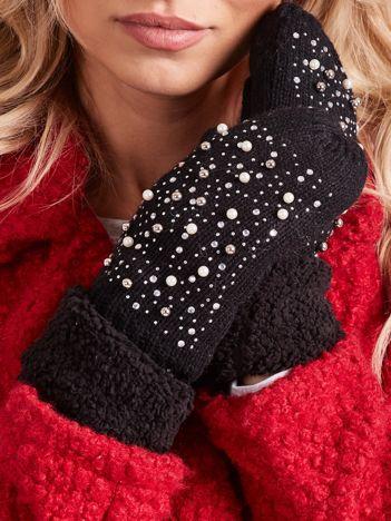Czarne rękawiczki damskie z aplikacją