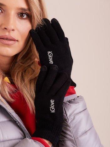 Czarne rękawiczki do ekranów dotykowych