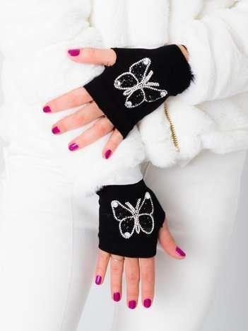 Czarne rękawiczki mitenki z cyrkoniami w kształcie motyla