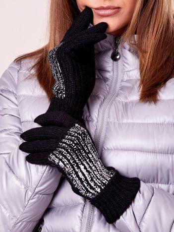 Czarne rękawiczki z wełną i błyszcząca aplikacją
