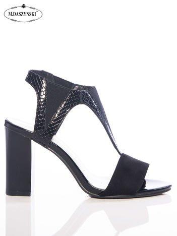 Czarne sandały Daszyński z wysoką tłoczoną cholewką i gumkami