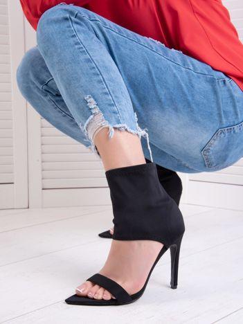 Czarne sandały Fersini z zabudową elastyczną cholewką