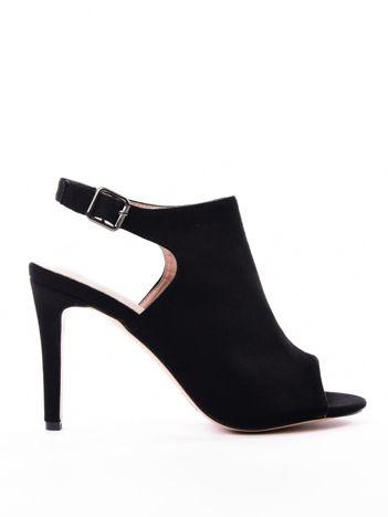 Czarne sandały SABATINA z głęboko wyciętą cholewką