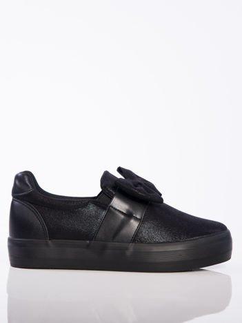 Czarne slipony z efektem glitter , skórzanymi wstawkami i ozdobną kokardką z przodu buta