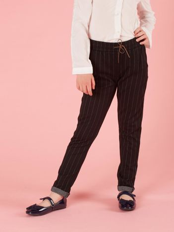 Czarne spodnie dla dziewczynki w paski
