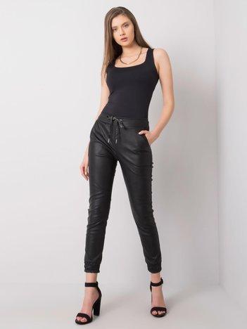 Czarne spodnie ze sztucznej skóry Shandy