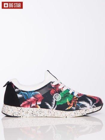 Czarne sportowe buty Big Star na sprężystej podeszwie z kwiatowym motywem