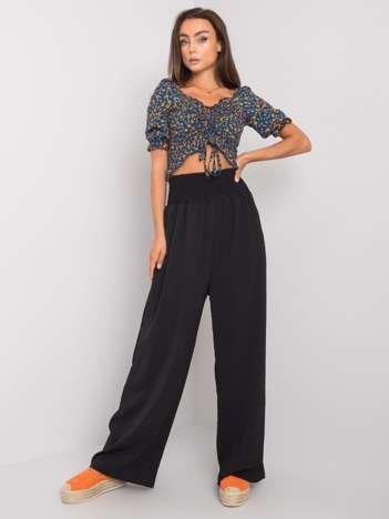 Czarne szerokie spodnie z materiału Lareen RUE PARIS