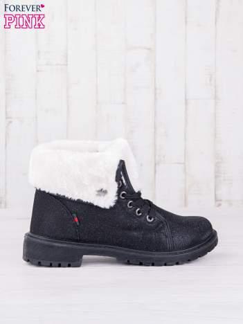 Czarne sznurowane botki eco leather Chill z futrzanym kołnierzem i srebrzystą nitką
