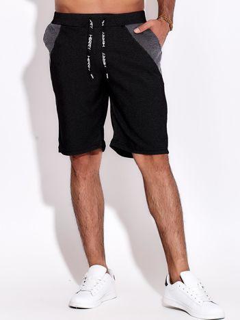 Czarne szorty męskie bawełniane z kieszeniami i trokami