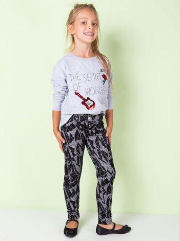 Czarne wzorzyste legginsy dla dziewczynki