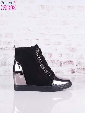Czarne zamszowe sneakersy Louisa z lustrzanymi wstawkami i srebrnymi sznurówkami