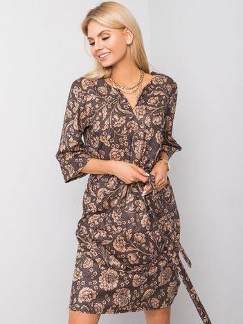 Czarno-beżowa sukienka Amara