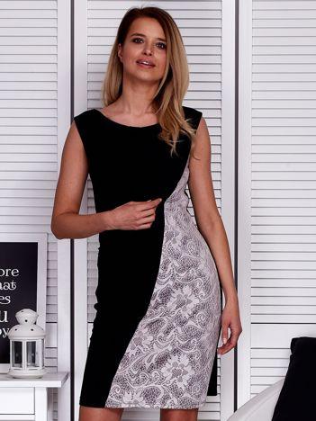 Czarno-beżowa sukienka z koronkową wstawką