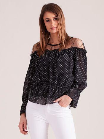 Czarno-biała wizytowa bluzka w groszki